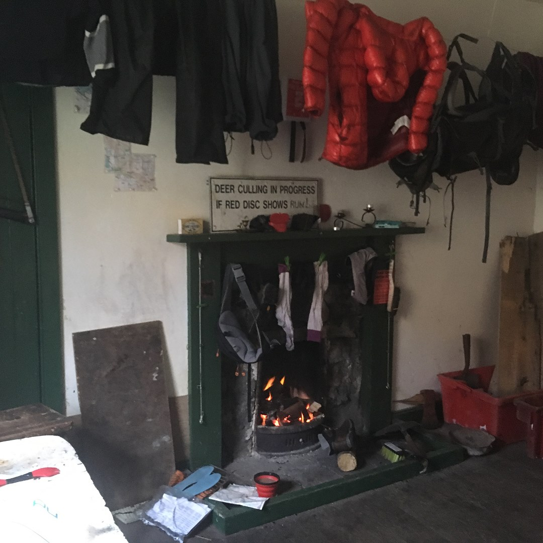 Making home and drying my kit in Glen Coul Bothy