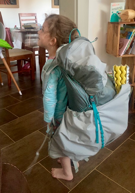 Rae modeling my rucksack