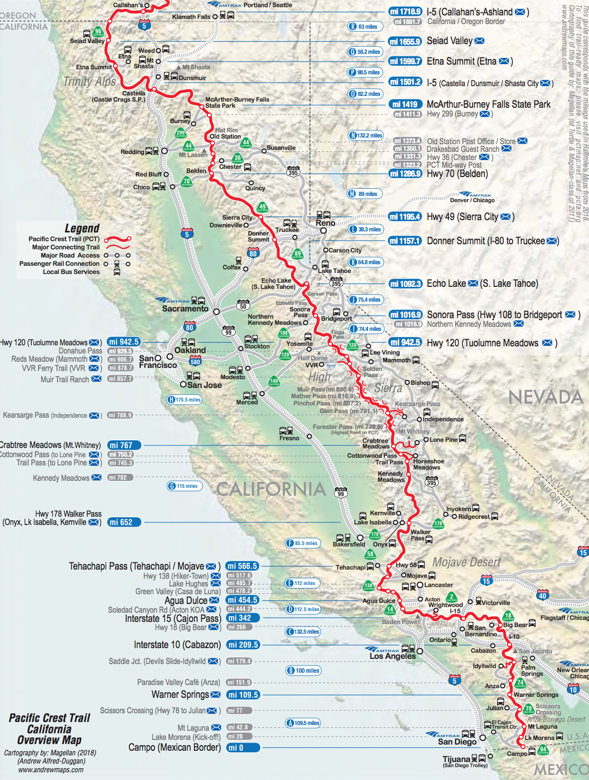 Pacific Crest Trail California Overview Map