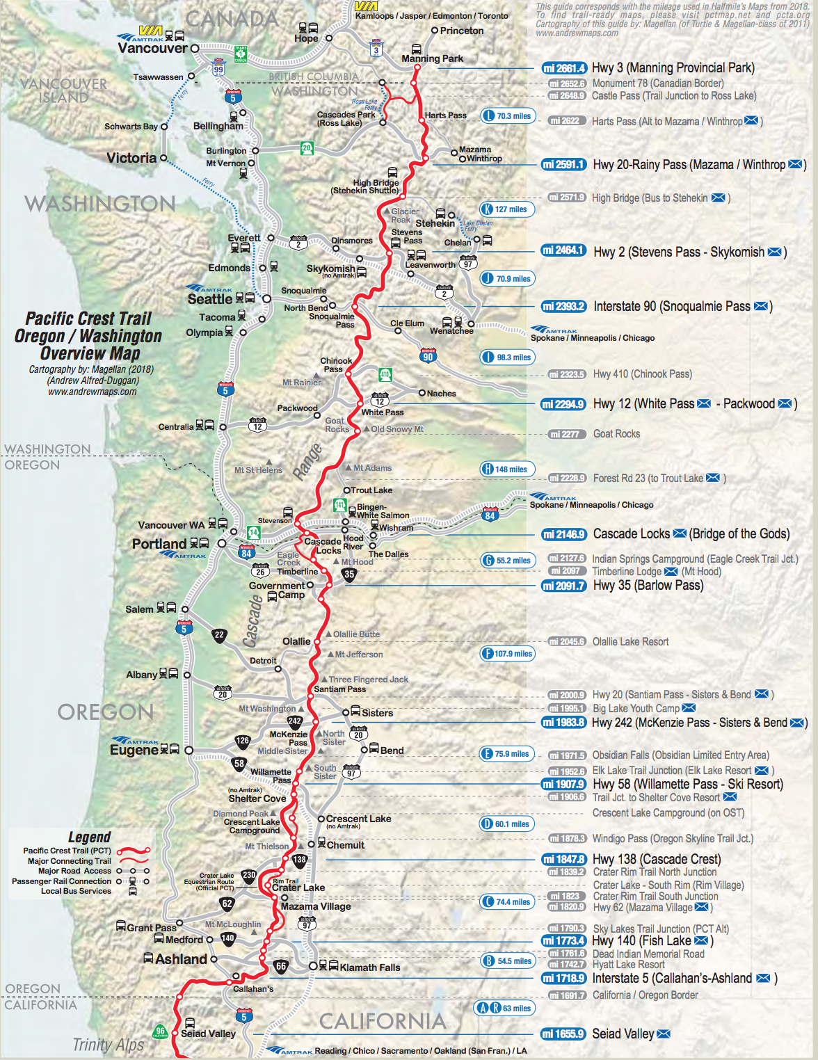 Pacific Crest Trail Washington and Oregon Overview Map