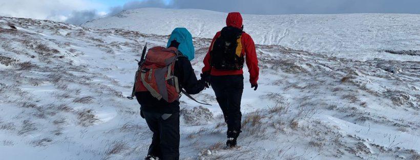 Kate and Lindsay on the Corbett, Creag Rainich